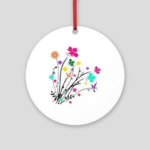 'Flower Spray' Ornament (Round)