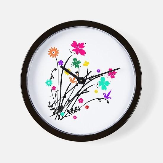 'Flower Spray' Wall Clock