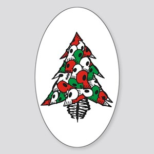 x_Xmas Tree Oval Sticker