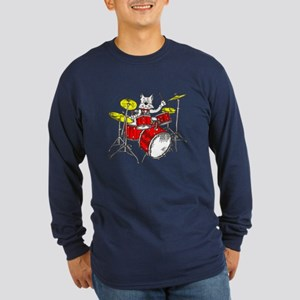 Catoons™ Drums Cat Long Sleeve Dark T-Shirt