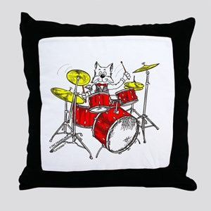 Drums Cat Throw Pillow