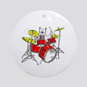 Drums Cat Ornament (Round)