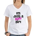Im Just A Buff Girl Women's V-Neck T-Shirt
