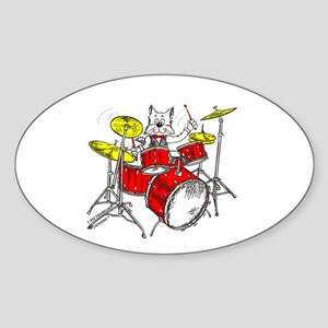 Catoons™ Drums Cat Sticker (Oval)