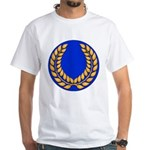 Blue with gold laurel White T-Shirt