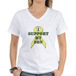 I Support My Son Women's V-Neck T-Shirt