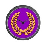 Purple with gold laurel Wall Clock