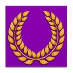 Purple with gold laurel Tile Coaster
