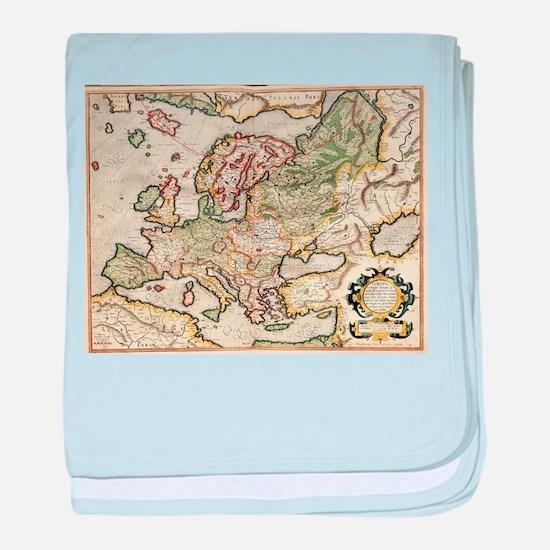 Vintage Map of Europe (1596) baby blanket