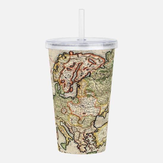 Vintage Map of Europe Acrylic Double-wall Tumbler