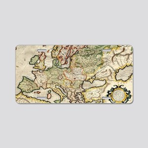 Vintage Map of Europe (1596 Aluminum License Plate