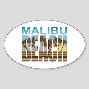 Malibu Beach Oval Sticker
