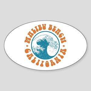 Malibu Beach California Oval Sticker
