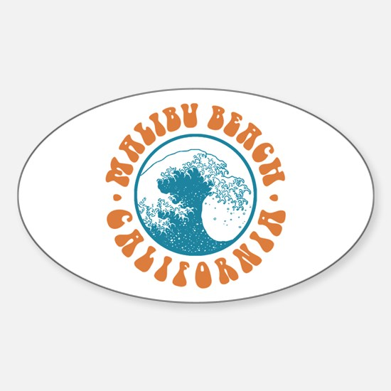 Malibu Beach California Oval Decal