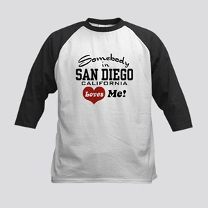 Somebody In San Diego Loves Me Kids Baseball Jerse