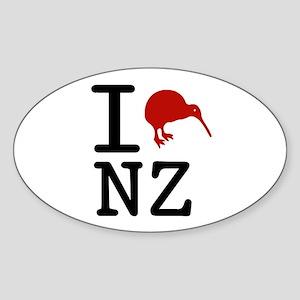 I Love New Zealand Oval Sticker