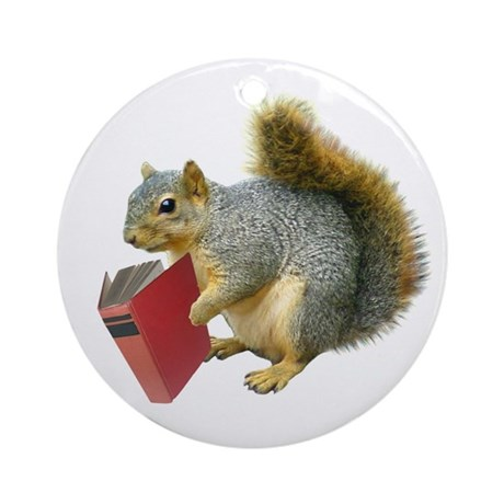 Squirrel with Book Ornament (Round)