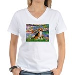Lilies (#2) - Beagle #7 Women's V-Neck T-Shirt