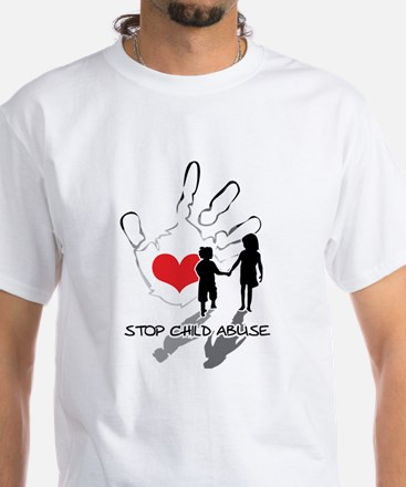 Stop Child Abuse White T-Shirt