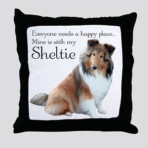Happy Place Sheltie Throw Pillow