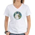 Bridge/Arabian horse (w) Women's V-Neck T-Shirt