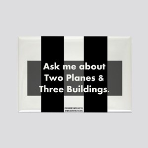 Two Planes Three Buildings Rectangle Magnet