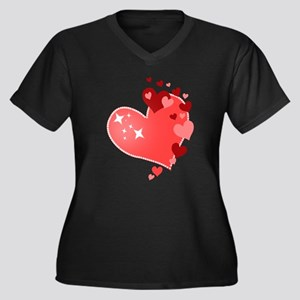I Love You Hearts Women's Plus Size V-Neck Dark T-