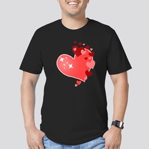 I Love You Hearts Men's Fitted T-Shirt (dark)