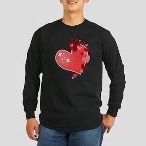 I Love You Hearts Long Sleeve Dark T-Shirt