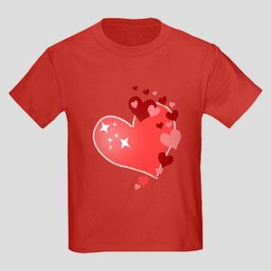 I Love You Hearts Kids Dark T-Shirt
