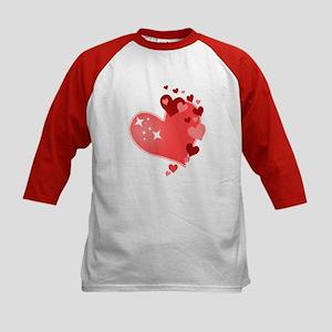 I Love You Hearts Kids Baseball Jersey