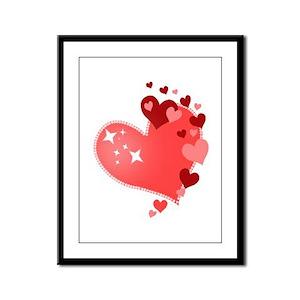 I Love You Hearts Framed Panel Print