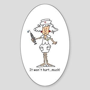 Funny Nurse Two Oval Sticker