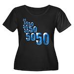 50 Women's Plus Size Scoop Neck Dark T-Shirt