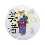 Geisha Corgi Ornament (Round)
