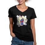 Geisha Corgi Women's V-Neck Dark T-Shirt