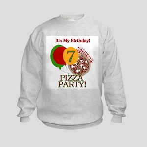7th Pizza Party Birthday Kids Sweatshirt