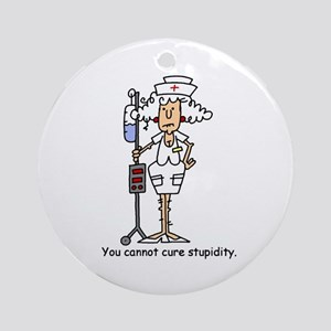 Funny Nurse Four Ornament (Round)