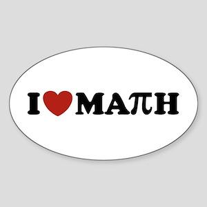 I Love Math Pi Oval Sticker