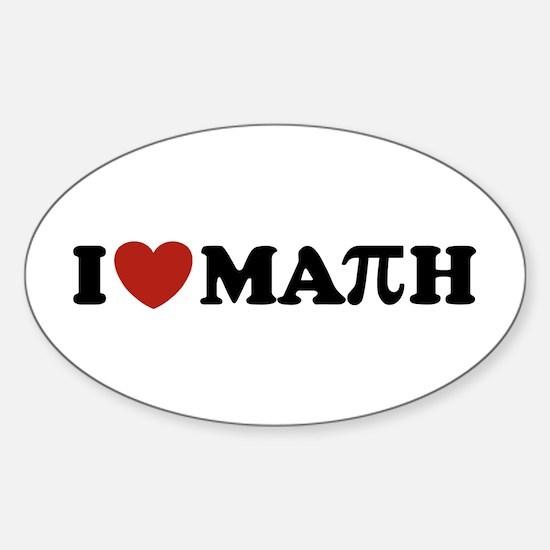 I Love Math Pi Oval Decal