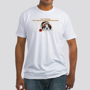 Sleep with Saint Bernards Fitted T-Shirt
