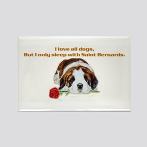 Sleep with Saint Bernards Rectangle Magnet