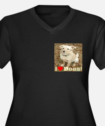 I Love Dogs Women's Plus Size V-Neck Dark T-Shirt