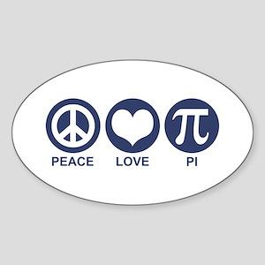 Peace Love Pi Oval Sticker