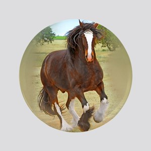 """Galloping Shire Draft Horse 3.5"""" Button"""