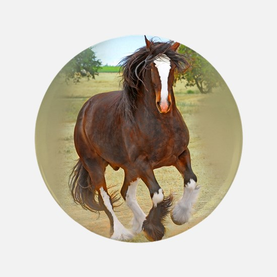 "Galloping Shire Draft Horse 3.5"" Button"
