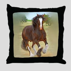 Galloping Shire Draft Horse Throw Pillow