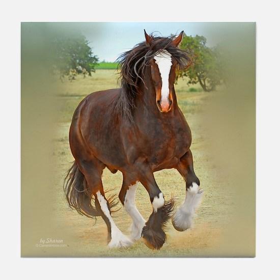 Galloping Shire Draft Horse Tile Coaster