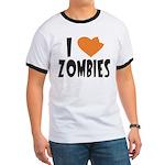 I Heart Zombies Men's Ringer T