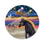 xmas Star / Arabian Horse (black) Ornament (Round)